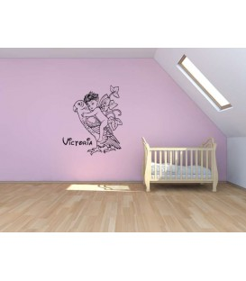Baby fairy on the parrot personalised wall sticker.