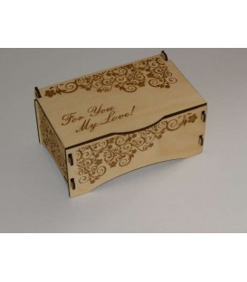 Jewellery keepsake wooden laser-cut and engraved box.