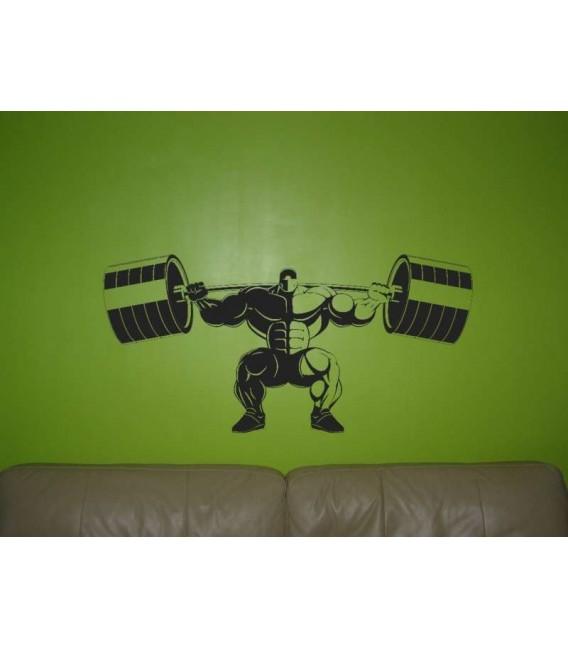 Athletic man start lifting a barbells wall sticker.