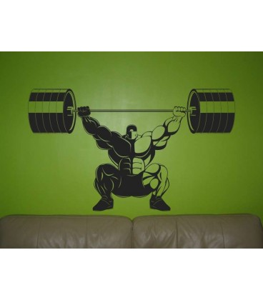 Athletic man in the squat wall sticker.