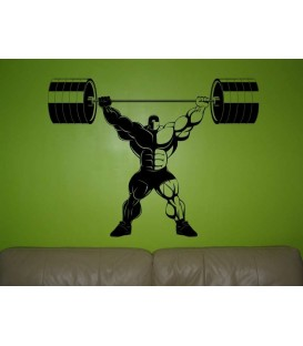 Athletic man lifted barbells up as wall sticker.