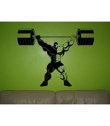 Athletic man lifted bare balls up as wall sticker.