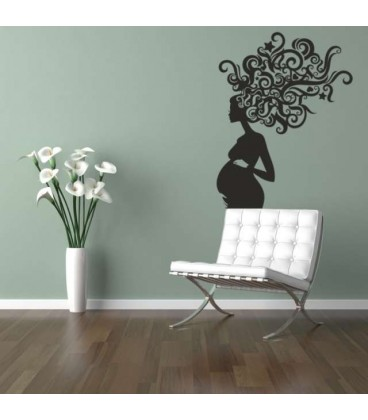 Pregnat woman with swirl hairs wall sticker.