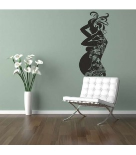 Pregnant woman with flowers living room wall sticker.