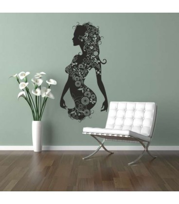 Woman with flowers wall art sticker.