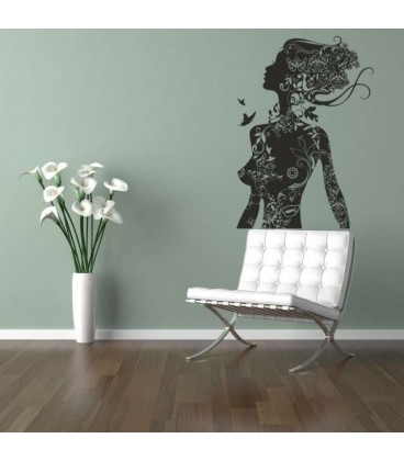 Woman with flowers and butterflies wall art sticker.