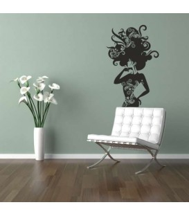 Woman with swirl hairs wall sticker.