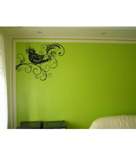 Bird and swirls lounge wall sticker.