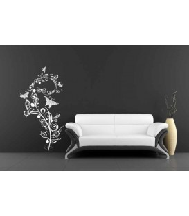 Butterflies on swirl flower wall art sticker.