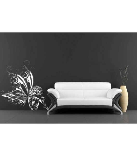 Fairy with butterflies and flowers wall sticker for living room wall decoration.