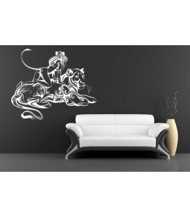 Cat woman on the Tiger bedroom wall sticker.