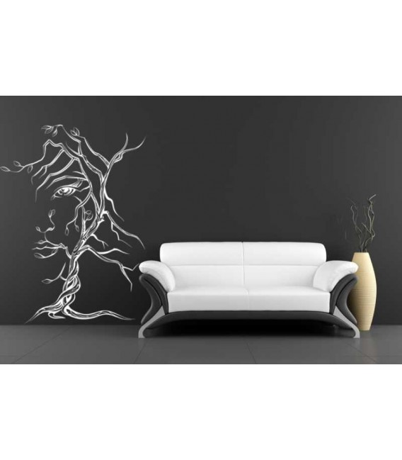 A tree as a woman face bedroom wall sticker.
