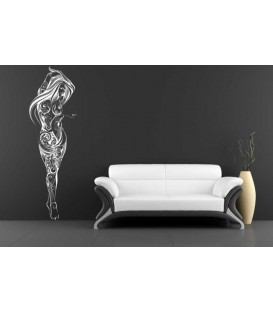 Flower swirl sexy girl bedroom wall sticker.