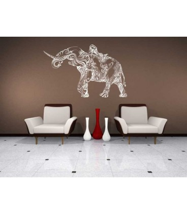 Woman on the swirl elephant lounge wall sticker.