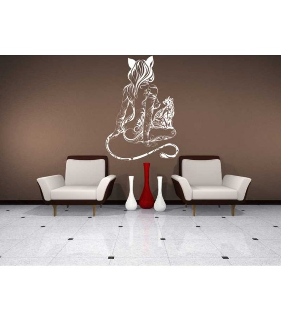 Cat woman wall decal, teenage decorative bedroom wall stickers.