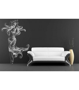 Dancing woman with beautiful flowers wall sticker.