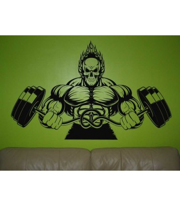 Athletic monster holds barbells as wall sticker.