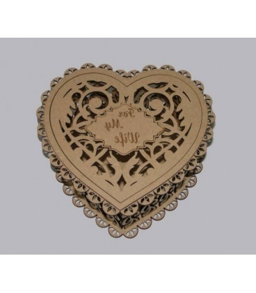 Elegant wooden heart pattern box laser-cut and engraved.