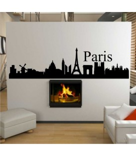 Paris city skyline wall sticker.