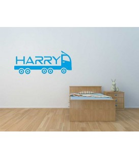 Lorry name personalized door boy bedroom sticker.