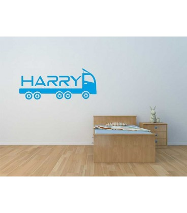 Lorry name personalised door boy bedroom sticker.