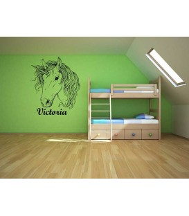 Customised Unicorn head girl bedroom wall sticker.