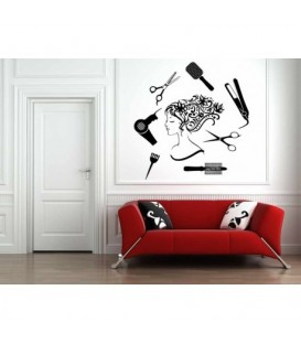 Barbershop, hair salon decorative wall sticker.