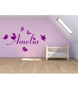 Butterfly personalised girls bedroom wall decal.