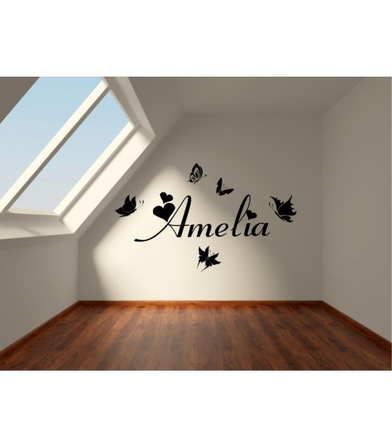 Butterfly personalised girls bedroom wall sticker kit, childrens bedroom stickers.