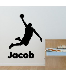 Personalised basketball player as bedroom wall sticker.