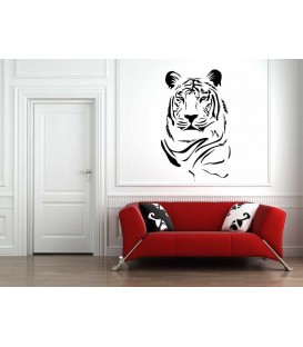 Tiger head animal art wall sticker, predator wall decal.
