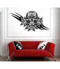 Skull with roses flowers, living room wall sticker.