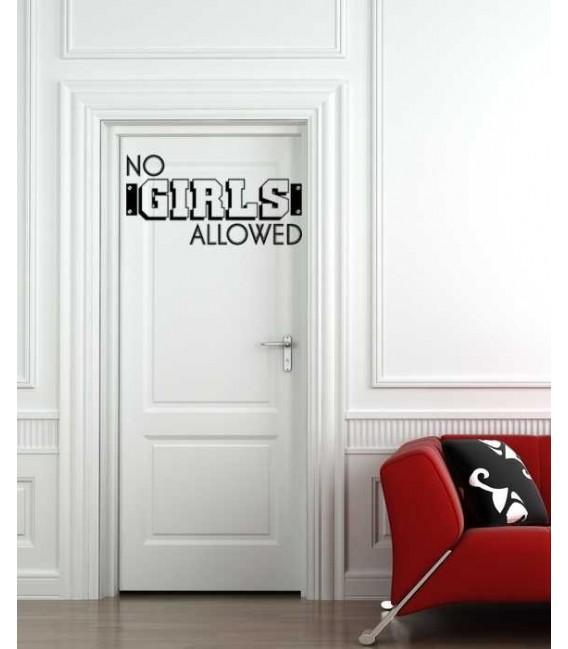 No girls allowed customised boy bedroom door sticker.