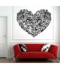 Ornament floral heart pattern bedroom wall sticker.