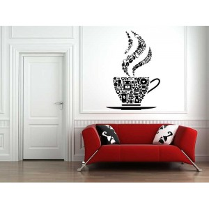 Coffee cup with coffee beans pattern kitchen wall sticker.