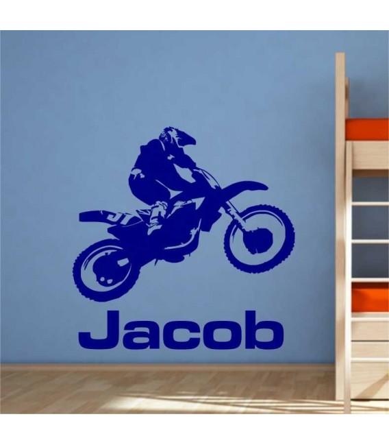 Personalised motocross bike wall art sticker.
