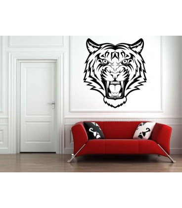 Roaring Tiger head wall art sticker, roaring tiger head wall decal.