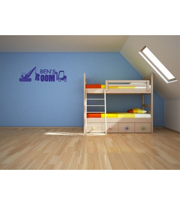 Digger with a boy name customised bedroom wall sticker.
