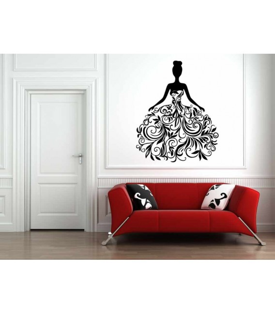 Flower girl wall decal, butterfly wall stickers.