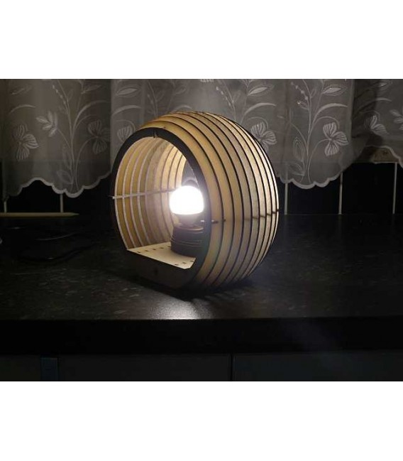Wooden sphere table lamp.