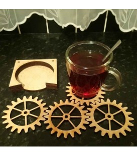 Gear shaped wooden coasters set.