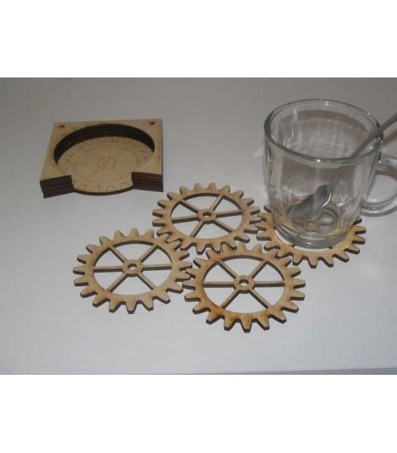 Honeycomb hexagonal wooden laser cut coasters set.