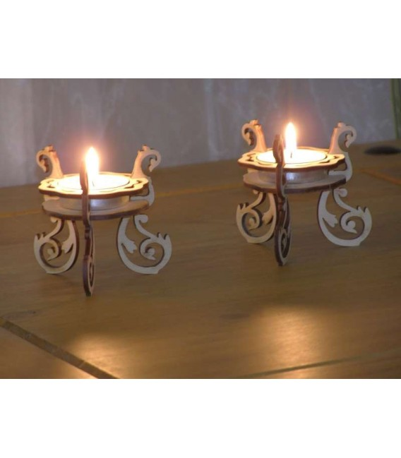 Set of wooden tealights candle holders.