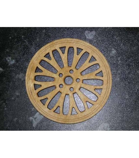 Alloy wheel pattern wooden laser cut coasters set.