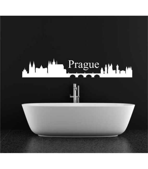 Prague city skyline lounge wall sticker.