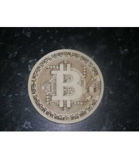 Bitcoin logo wooden laser cut coaster.