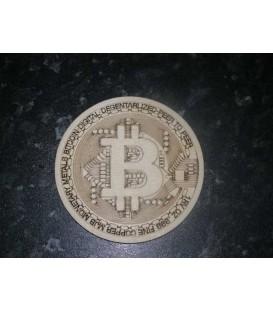 Bitcoin logo wooden coaster.
