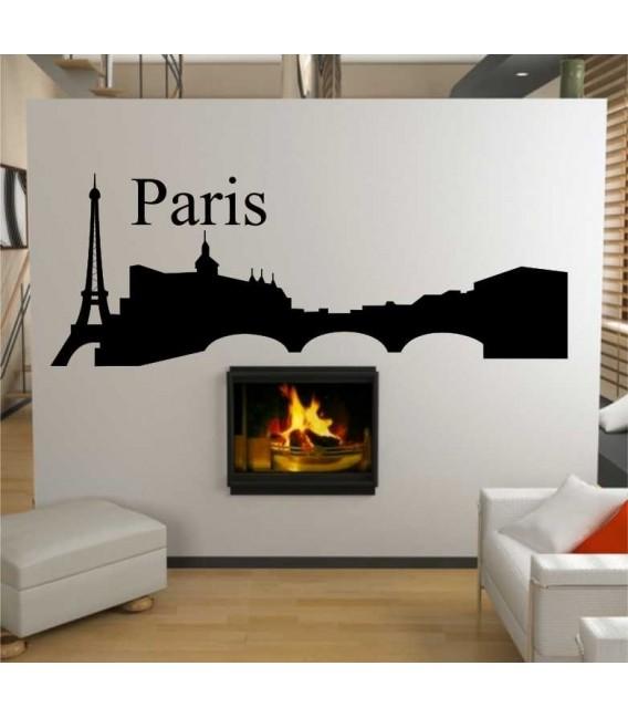 Paris city skyline lounge wall sticker.