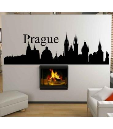 Prague city skyline living room wall sticker.