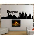 Prague city skyline living room wall decal.